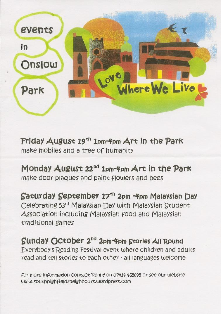 Onslow Park events Sep 2016