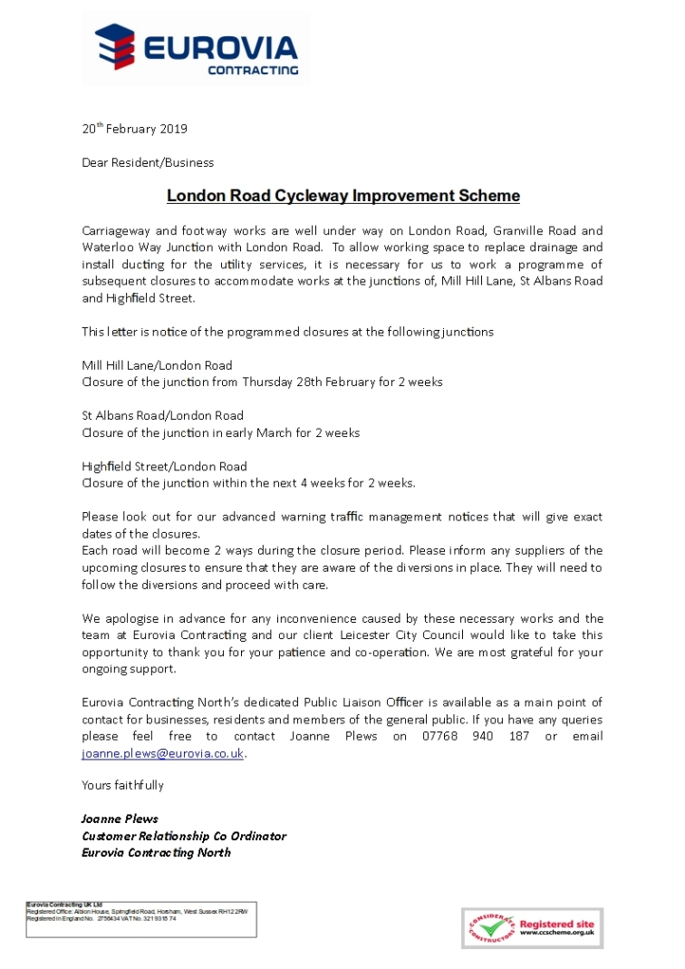 Junction Closures Feb to March